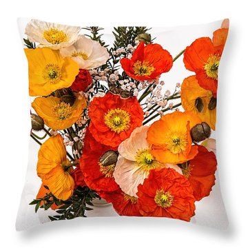 Stunning Vibrant Yellow Orange Poppies  Throw Pillow
