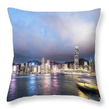 Stunning View Of Hong Kong Island At Night.  Throw Pillow