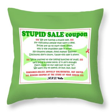 Real Fake News Stupid Sale Ad Throw Pillow by Dawn Sperry