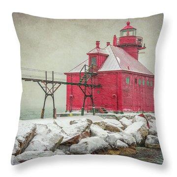 Sturgeon Bay Pierhead Lighthouse Storm Throw Pillow