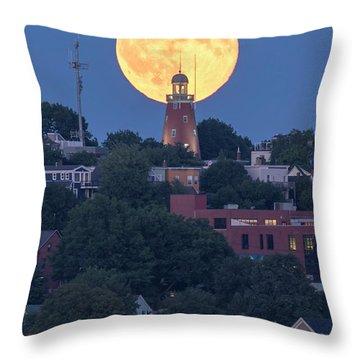 Sturgeon Moon Over Portland Observatory Throw Pillow