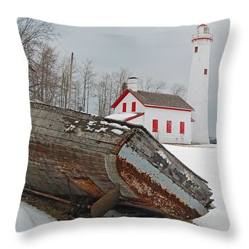 Sturgeon Point Lighthouse Throw Pillow by Michael Peychich
