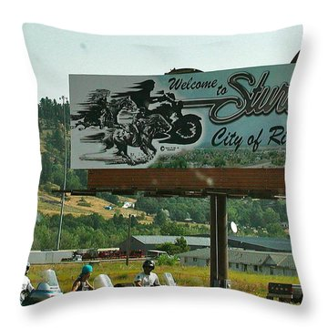 Sturgis City Of Riders Throw Pillow by Anna Ruzsan