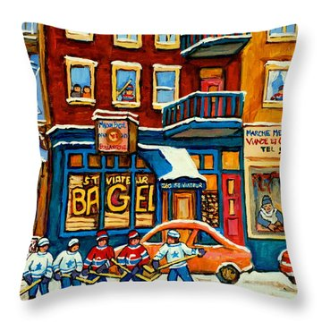 St.viateur Bagel Hockey Montreal Throw Pillow