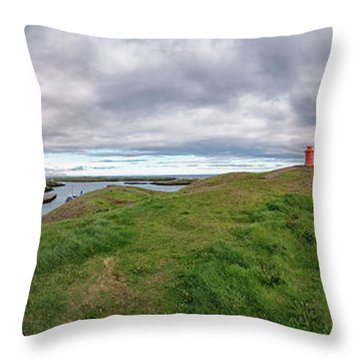 Stykkisholmur Harbor Pano Throw Pillow