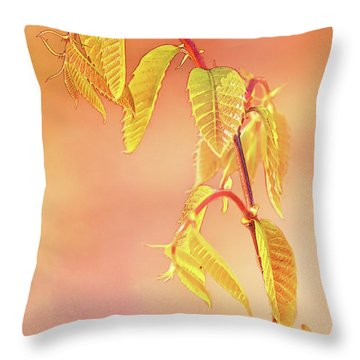 Stylized Baby Chestnut Leaves Throw Pillow