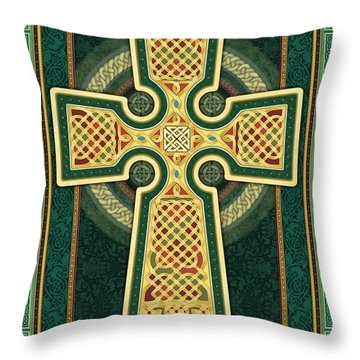 Stylized Celtic Cross In Green Throw Pillow