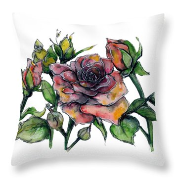 Stylized Roses Throw Pillow