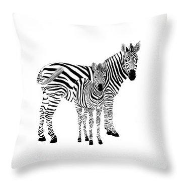 Stylized Zebra With Child Throw Pillow