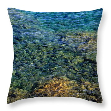 Submerged Rocks At Lake Superior Throw Pillow