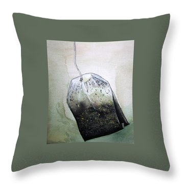 Throw Pillow featuring the painting Submerged Tea Bag by Mary Ellen Frazee
