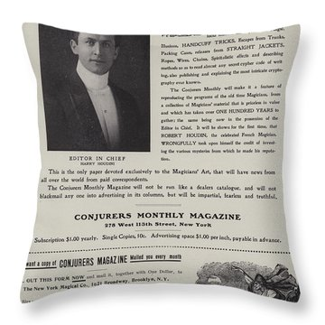 Subscription Form For Conjurers Monthly Magazine, Editor In Chief Harry Houdini, Circa 1906 Throw Pillow