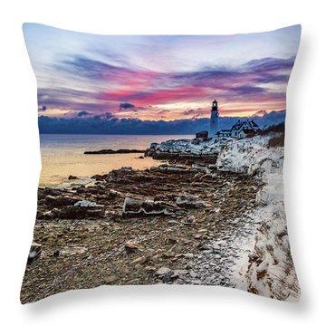 Subtle Sunrise At Portland Head Light Throw Pillow