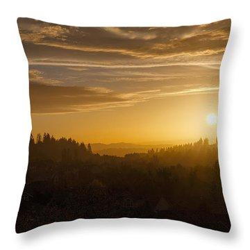 Suburban Golden Sunset Throw Pillow by David Gn