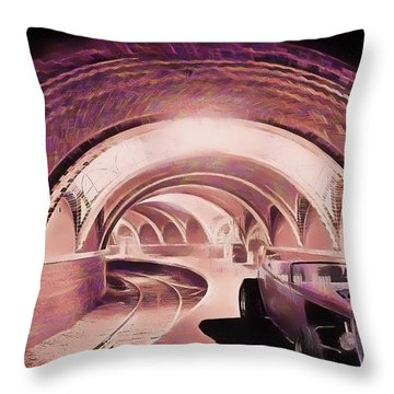 Subway Racer Throw Pillow by Michael Cleere