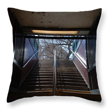 Throw Pillow featuring the photograph Subway Stairs To Freedom by Rob Hans