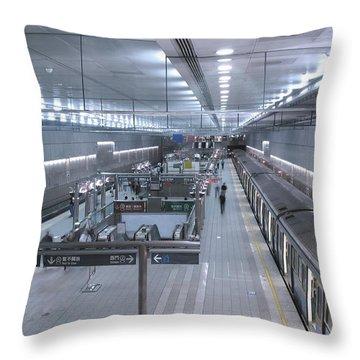 Subway Station Interior Throw Pillow