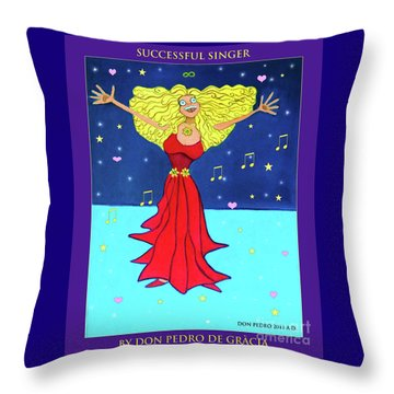 Successful Singer. Throw Pillow