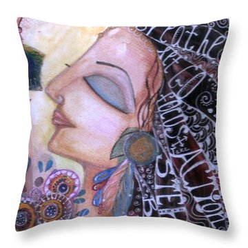 Throw Pillow featuring the painting Success Mantras by Prerna Poojara