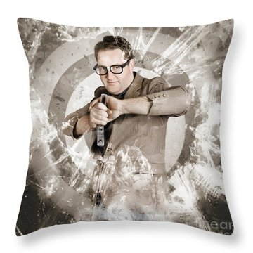 Successful Business Person Taking Aim At Target Throw Pillow