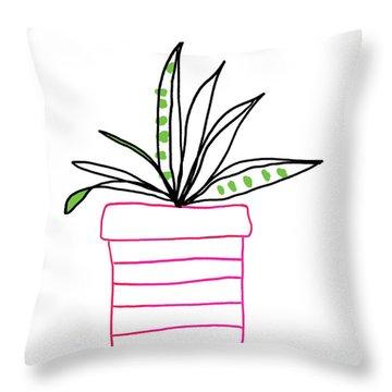 Succulent In A Pink Pot- Art By Linda Woods Throw Pillow