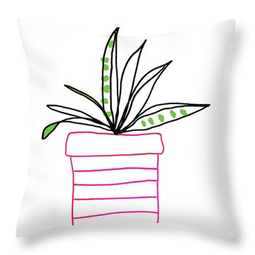 Throw Pillow featuring the mixed media Succulent In A Pink Pot- Art By Linda Woods by Linda Woods