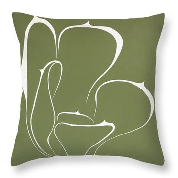 Throw Pillow featuring the painting Succulent In Green by Ben Gertsberg