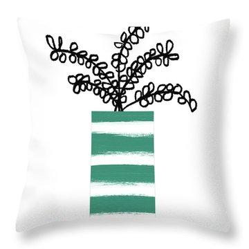 Succulent In Green Pot 1- Art By Linda Woods Throw Pillow