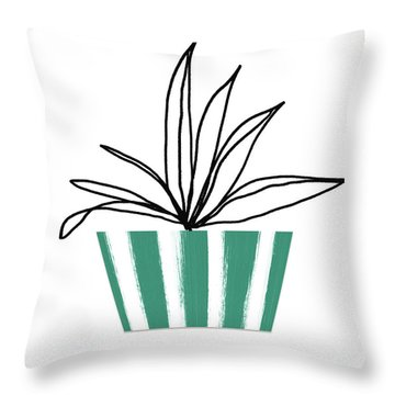 Throw Pillow featuring the mixed media Succulent In Green Pot 3- Art By Linda Woods by Linda Woods