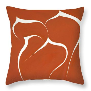 Throw Pillow featuring the painting Succulent In Orange by Ben Gertsberg