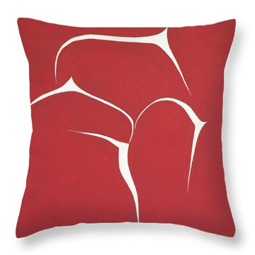 Throw Pillow featuring the painting Succulent In Red by Ben Gertsberg