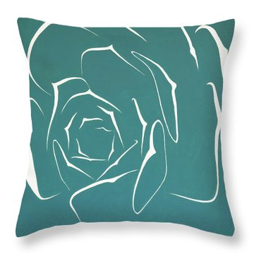Throw Pillow featuring the painting Succulent In Turquoise by Ben Gertsberg