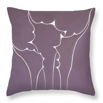 Throw Pillow featuring the painting Succulent In Violet by Ben Gertsberg