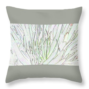 Succulent Leaves In High Key Throw Pillow