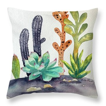 Succulents Desert Throw Pillow