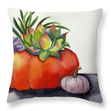 Succulents In Pumpkin Throw Pillow