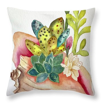 Succulents In Shell Throw Pillow