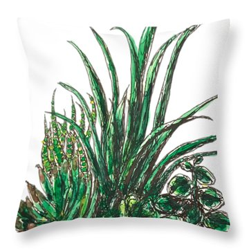Throw Pillow featuring the painting Succulents by Monique Faella