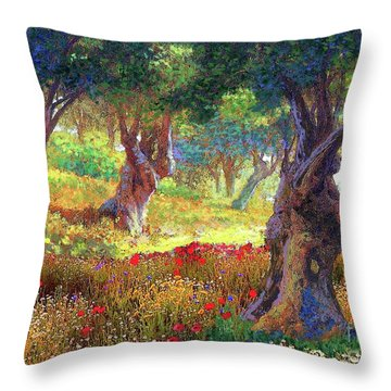 Tranquil Grove Of Poppies And Olive Trees Throw Pillow