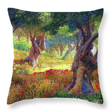 Tranquil Grove Of Poppies And Olive Trees Throw Pillow by Jane Small