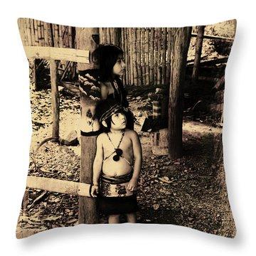 Throw Pillow featuring the photograph Sucua Kids 895 by Al Bourassa