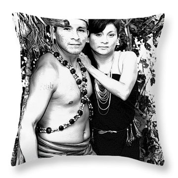 Throw Pillow featuring the photograph Sucua Shaman And Spouse by Al Bourassa