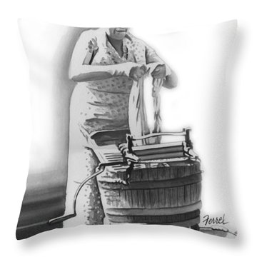 Throw Pillow featuring the painting Suds In The Bucket by Ferrel Cordle