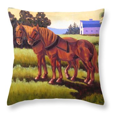 Suffolk Punch Day Is Done Throw Pillow