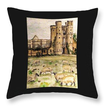 Suffolk Sheep Grazing In Sussex Throw Pillow by Angela Davies