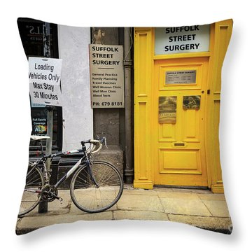 Throw Pillow featuring the photograph Suffolk Street Surgery Bicycle by Craig J Satterlee