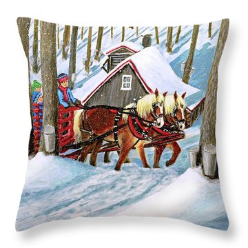 Sugar Bush Sleigh Ride Randonne En Traneau Sucre Throw Pillow