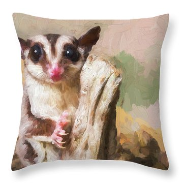 Sugar Glider - Painterly Throw Pillow