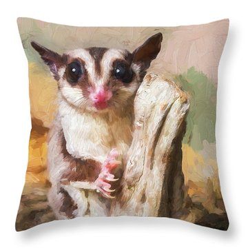Sugar Glider - Painterly Throw Pillow