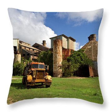 Sugar Mill And Truck Throw Pillow by Roger Mullenhour